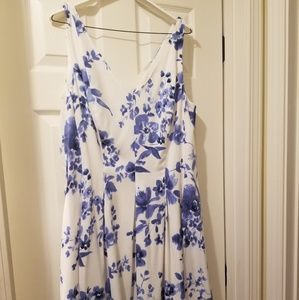 Ralph Lauren blue and white floral print dress